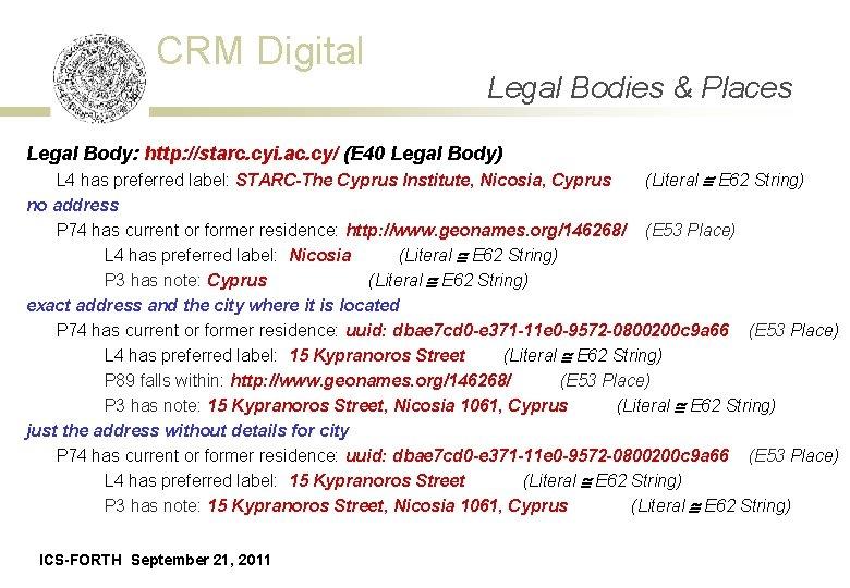 CRM Digital Legal Bodies Places Data Acquisition Event& - Schema Legal Body: http: //starc.