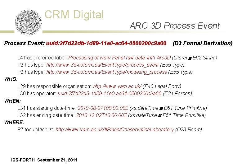 CRM Digital ARC 3 D Process Event: uuid: 2 f 7 d 22 db-1