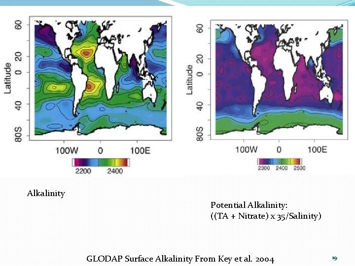 Alkalinity Potential Alkalinity: ((TA + Nitrate) x 35/Salinity) GLODAP Surface Alkalinity From Key et