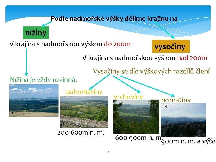 Podle nadmořské výšky dělíme krajinu na nížiny √ krajina s nadmořskou výškou do 200