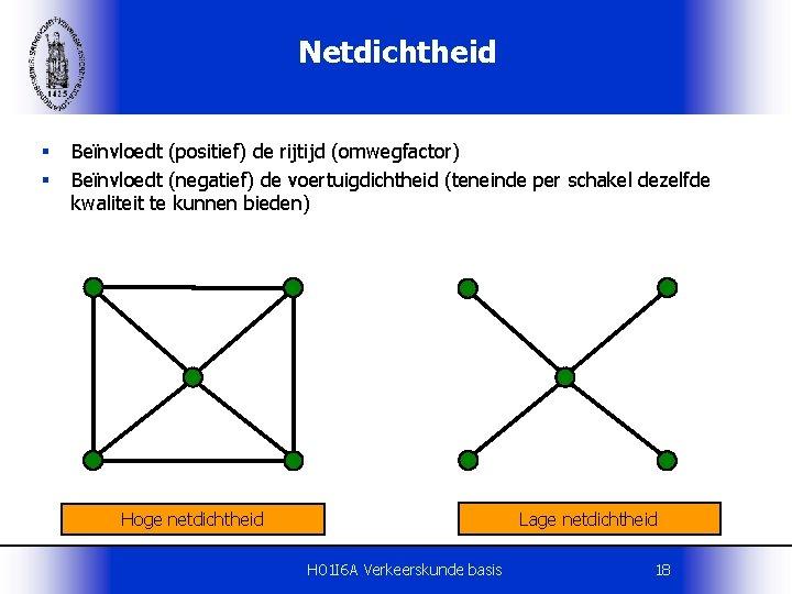 Netdichtheid § § Beïnvloedt (positief) de rijtijd (omwegfactor) Beïnvloedt (negatief) de voertuigdichtheid (teneinde per