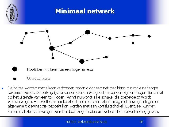 Minimaal netwerk n De haltes worden met elkaar verbonden zodanig dat een net met