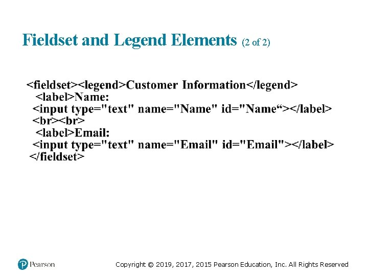 Fieldset and Legend Elements (2 of 2) Copyright © 2019, 2017, 2015 Pearson Education,