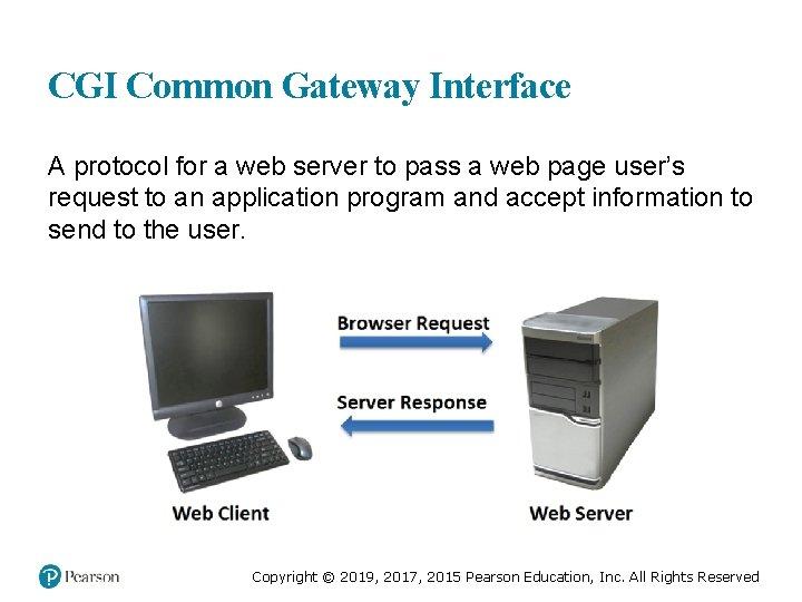 CGI Common Gateway Interface A protocol for a web server to pass a web