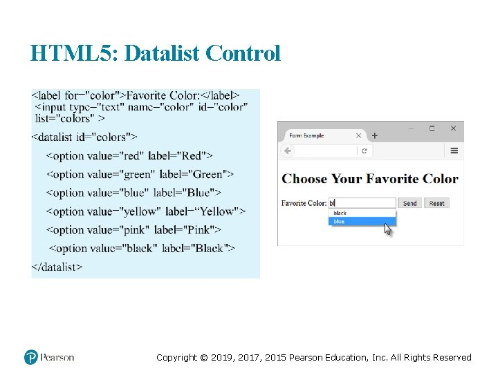 HTML 5: Datalist Control Copyright © 2019, 2017, 2015 Pearson Education, Inc. All Rights