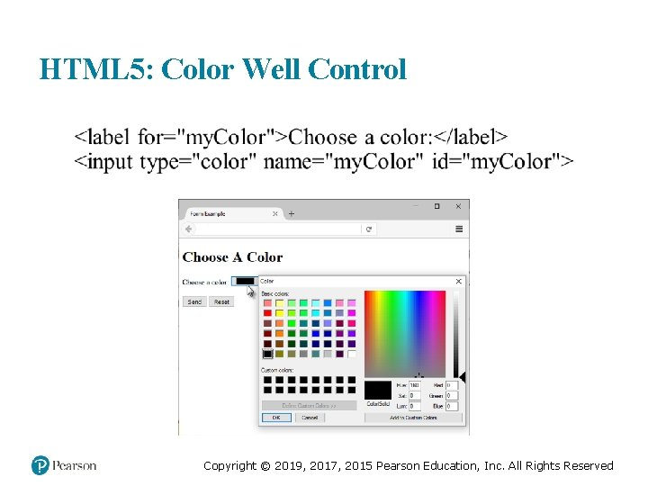HTML 5: Color Well Control Copyright © 2019, 2017, 2015 Pearson Education, Inc. All