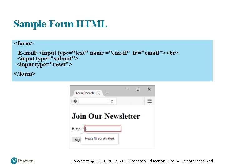 Sample Form HTML Copyright © 2019, 2017, 2015 Pearson Education, Inc. All Rights Reserved