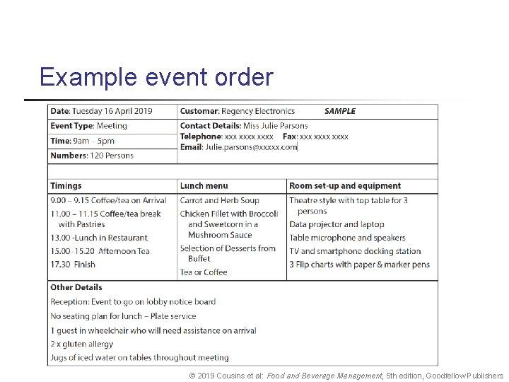 Example event order © 2019 Cousins et al: Food and Beverage Management, 5 th