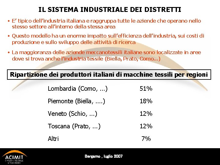 IL SISTEMA INDUSTRIALE DEI DISTRETTI • E' tipico dell'industria italiana e raggruppa tutte le
