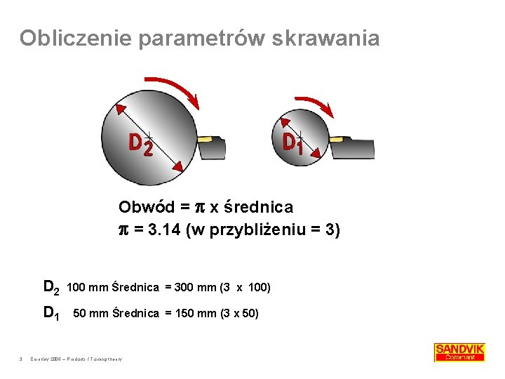 Obliczenie parametrów skrawania Obwód = x średnica = 3. 14 (w przybliżeniu = 3)
