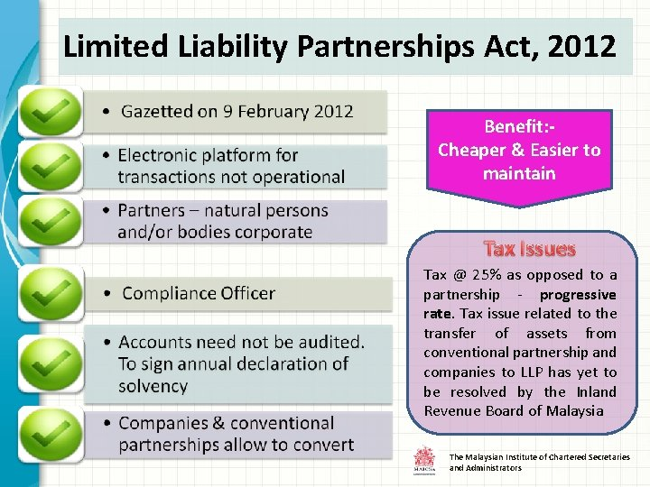 Limited Liability Partnerships Act, 2012 Benefit: Cheaper & Easier to maintain Tax @ 25%