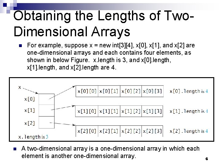 Obtaining the Lengths of Two. Dimensional Arrays n n For example, suppose x =