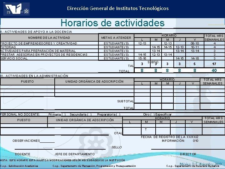Dirección General de Institutos Tecnológicos Horarios de actividades II. - ACTIVIDADES DE APOYO A