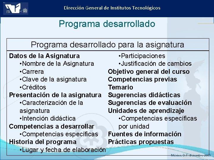Dirección General de Institutos Tecnológicos Programa desarrollado para la asignatura • Participaciones Datos de