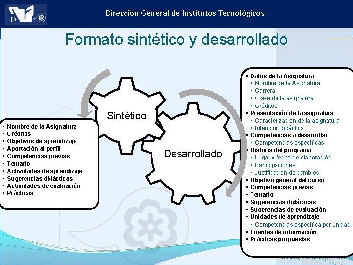 Dirección General de Institutos Tecnológicos Formato sintético y desarrollado Sintético • • • Nombre