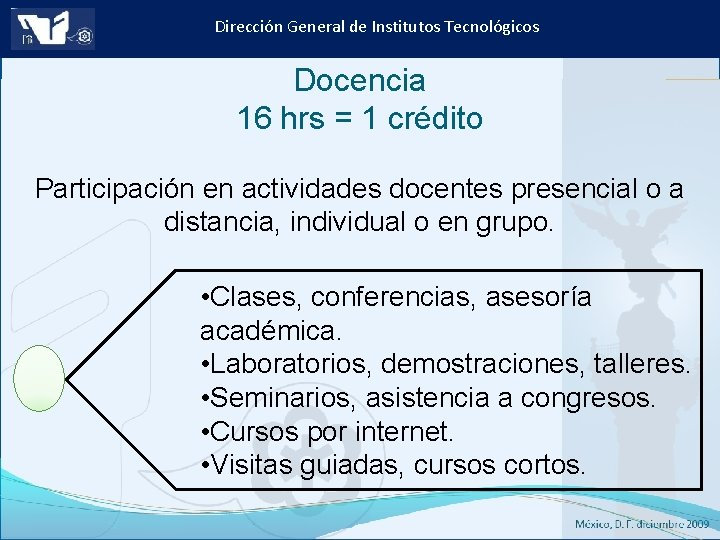 Dirección General de Institutos Tecnológicos Docencia 16 hrs = 1 crédito Participación en actividades