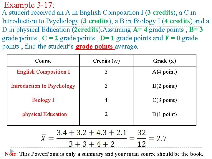 Example 3 -17: A student received an A in English Composition I (3 credits),