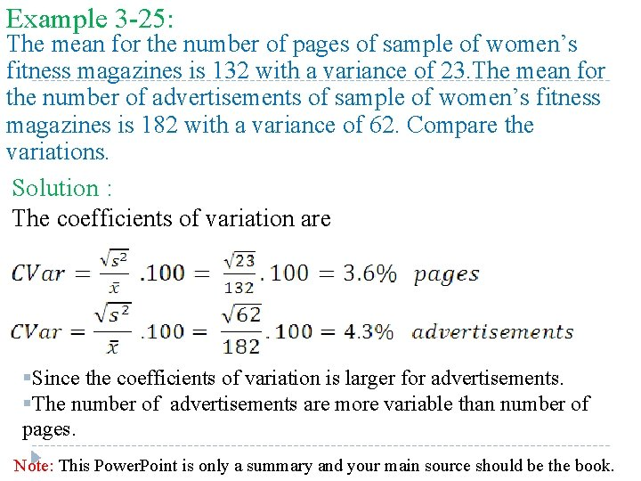 Example 3 -25: The mean for the number of pages of sample of women's