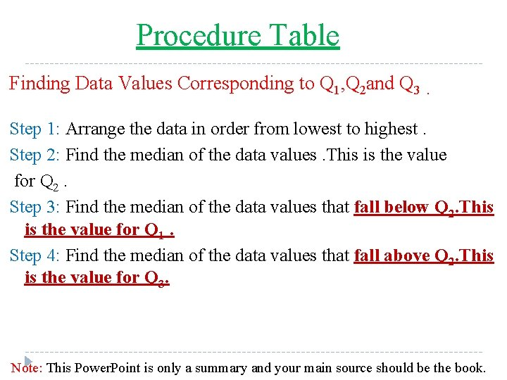 Procedure Table Finding Data Values Corresponding to Q 1, Q 2 and Q 3