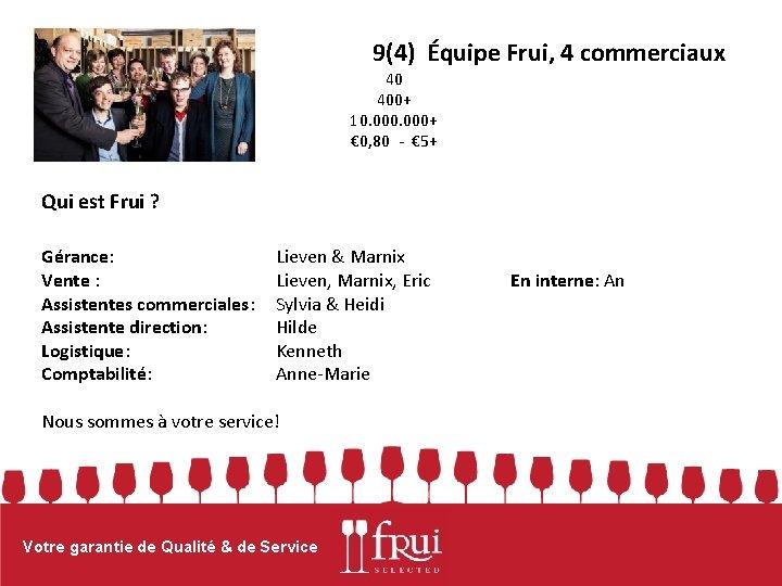 9(4) Équipe Frui, 4 commerciaux 40 400+ 10. 000+ € 0, 80 - €