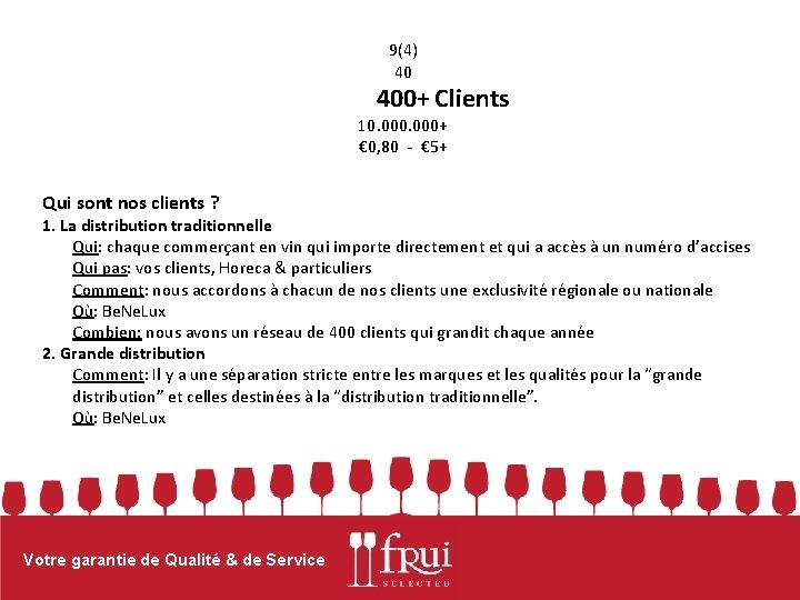 9(4) 40 400+ Clients 10. 000+ € 0, 80 - € 5+ Qui sont
