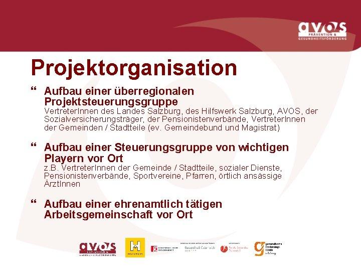 Projektorganisation } Aufbau einer überregionalen Projektsteuerungsgruppe Vertreter. Innen des Landes Salzburg, des Hilfswerk Salzburg,