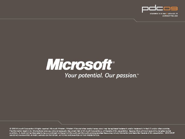 © 2009 Microsoft Corporation. All rights reserved. Microsoft, Windows Vista and other product names
