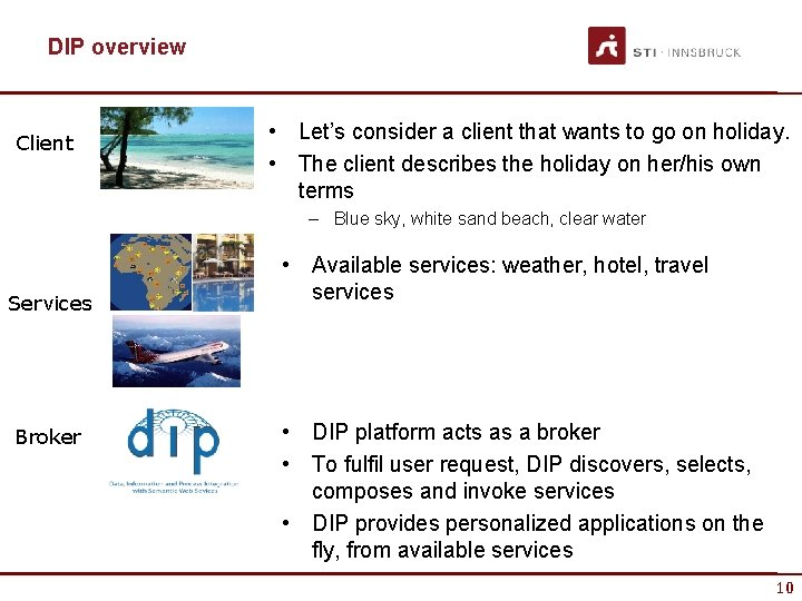 DIP overview Client • Let's consider a client that wants to go on holiday.