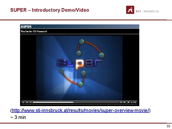 SUPER – Introductory Demo/Video (http: //www. sti-innsbruck. at/results/movies/super-overview-movie/) ~ 3 min 35