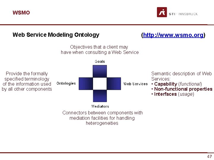 WSMO Web Service Modeling Ontology (http: //www. wsmo. org) Objectives that a client may