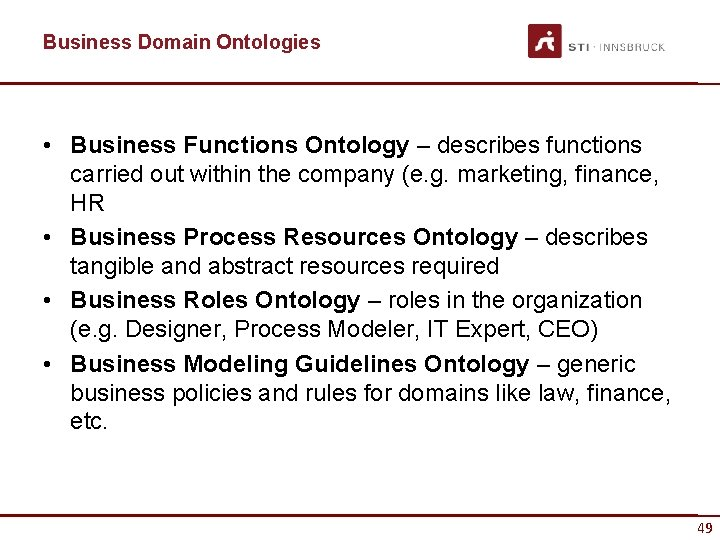 Business Domain Ontologies • Business Functions Ontology – describes functions carried out within the