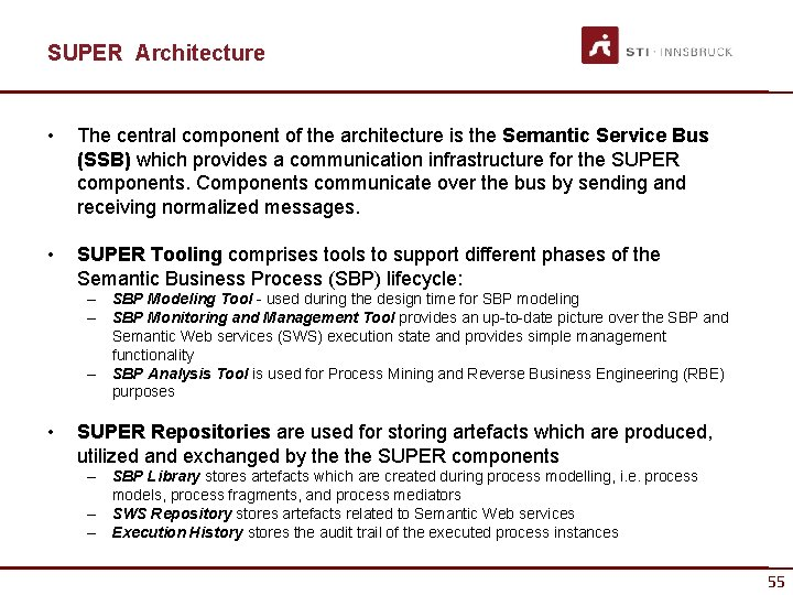 SUPER Architecture • The central component of the architecture is the Semantic Service Bus