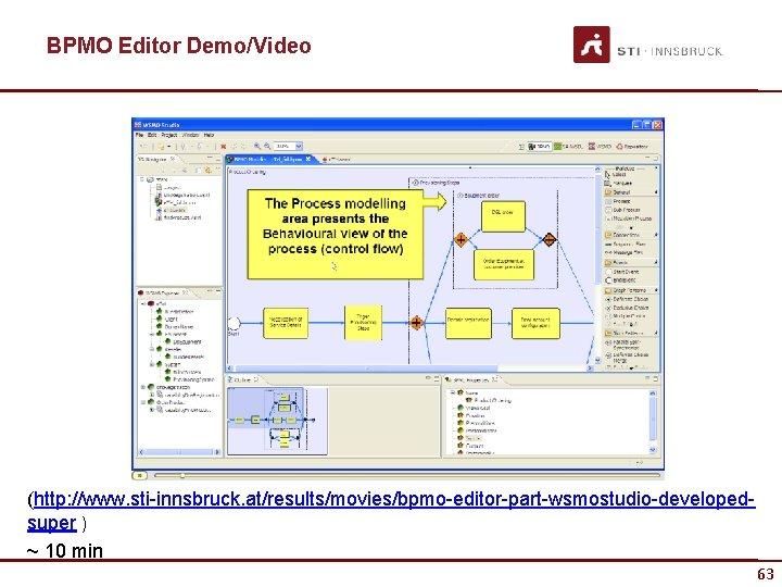 BPMO Editor Demo/Video (http: //www. sti-innsbruck. at/results/movies/bpmo-editor-part-wsmostudio-developedsuper ) ~ 10 min 63