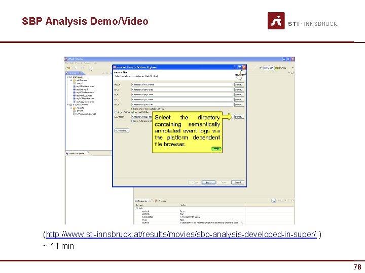 SBP Analysis Demo/Video (http: //www. sti-innsbruck. at/results/movies/sbp-analysis-developed-in-super/ ) ~ 11 min 78