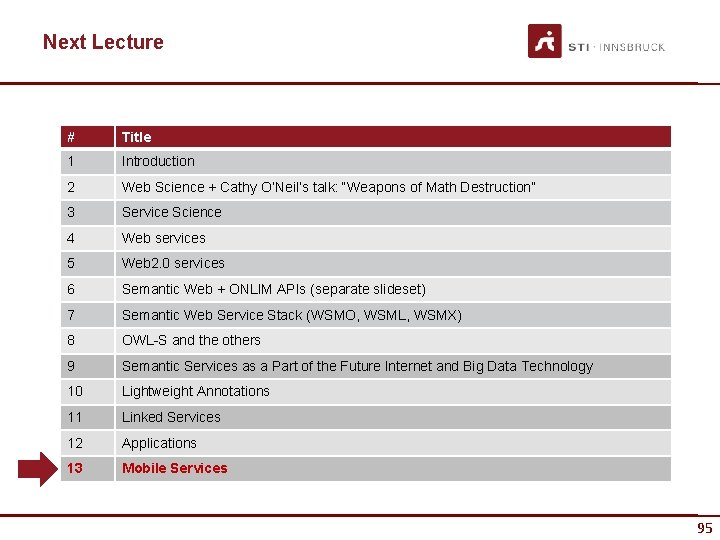 """Next Lecture # Title 1 Introduction 2 Web Science + Cathy O'Neil's talk: """"Weapons"""