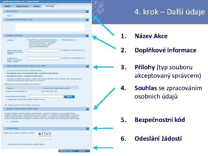 4. krok – Další údaje 1. Název Akce 2. Doplňkové informace 3. Přílohy (typ