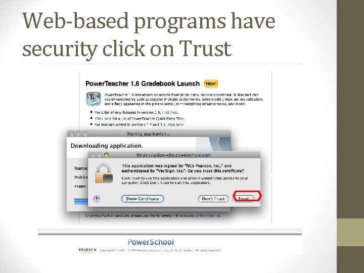 Web-based programs have security click on Trust