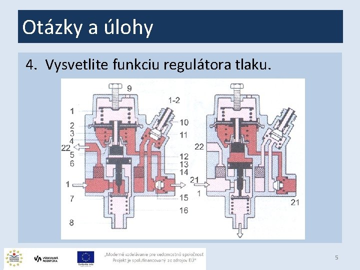 Otázky a úlohy 4. Vysvetlite funkciu regulátora tlaku. 5
