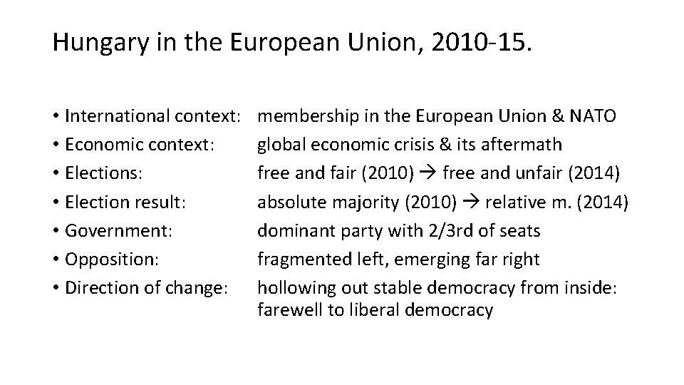 Hungary in the European Union, 2010 -15. • International context: • Economic context: •
