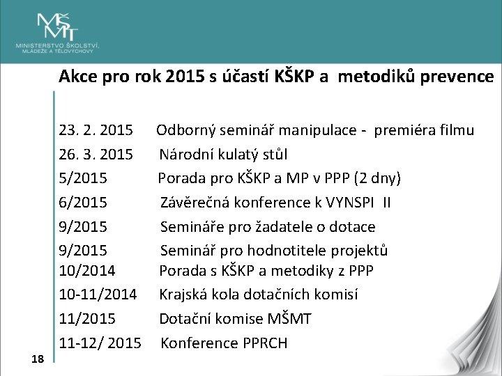 Akce pro rok 2015 s účastí KŠKP a metodiků prevence 18 23. 2. 2015