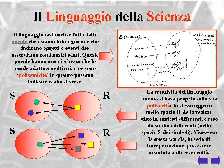 Il Linguaggio della Scienza Il linguaggio ordinario è fatto dalle parole che usiamo tutti