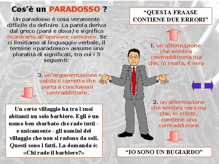 Cos'è un PARADOSSO ? Un paradosso è cosa veramente difficile da definire. La parola