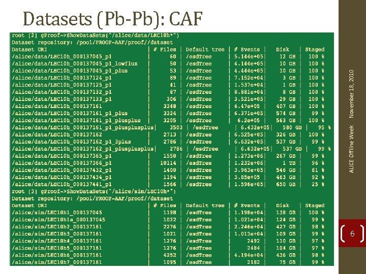 ALICE Offline Week November 18, 2010 Datasets (Pb-Pb): CAF 6