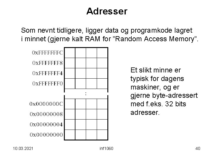Adresser Som nevnt tidligere, ligger data og programkode lagret i minnet (gjerne kalt RAM