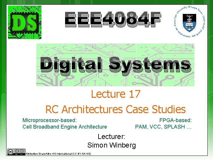 EEE 4084 F Digital Systems Lecture 17 RC Architectures Case Studies Microprocessor-based: Cell Broadband