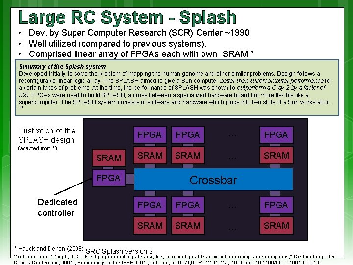 Large RC System - Splash • Dev. by Super Computer Research (SCR) Center ~1990