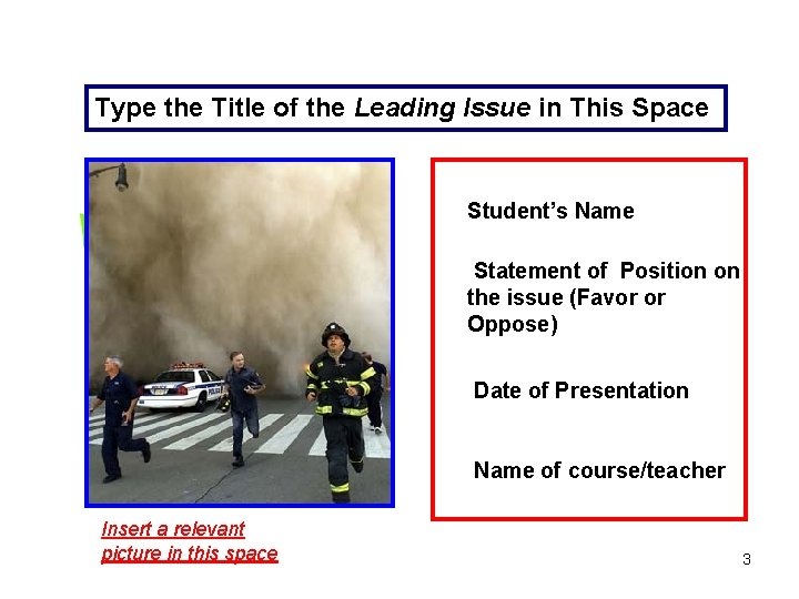 Type the Title of the Leading Issue in This Space Student's Name Statement of