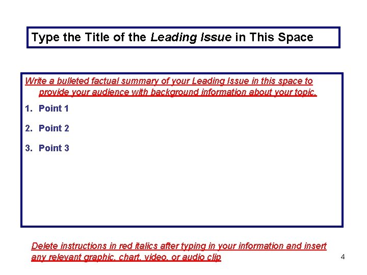 Type the Title of the Leading Issue in This Space Write a bulleted factual