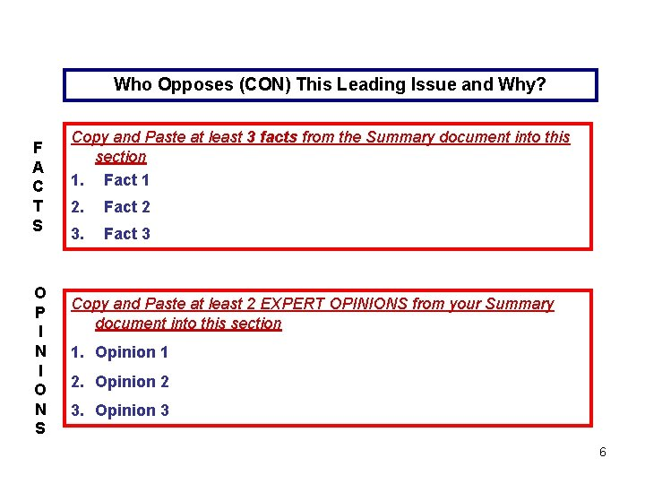 Who Opposes (CON) This Leading Issue and Why? F A C T S O