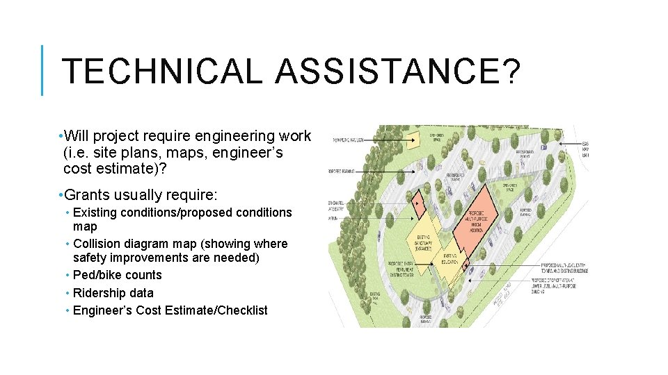 TECHNICAL ASSISTANCE? • Will project require engineering work (i. e. site plans, maps, engineer's